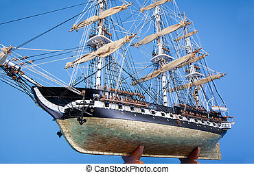 """Model ship Constitution - Model of the historic ship; """"USS..."""
