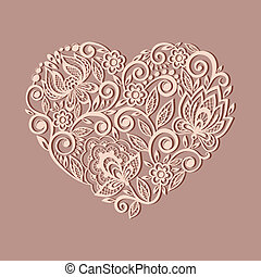 model, silhouette, hart, floral, verfraaide, oud, element, ontwerp, symbool, style.