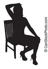 Model Sitting Silhouette