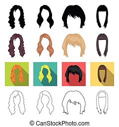 model, style, wig and other web icon in different...