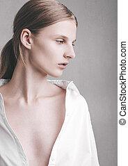 model, test, met, jonge, mooi, mannequin