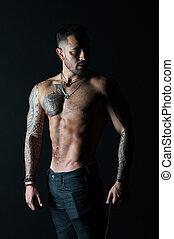 model, torso., sterke, mode, chest., jeans., of, belly., fitness, man, sportsman, atleet, tattooed, arm, bodycare, sexy, sportende, tatoeëren, gebaard