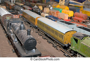 model trainset with engine and carriages in rows