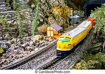 model trein, het zoemen, door, op, museum