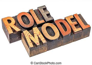 model, typografie, rol