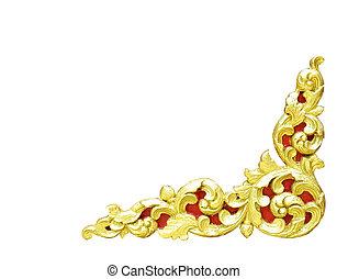 model, van, goud, houten kader, gekerfde, bloem, vrijstaand, op wit, achtergrond.