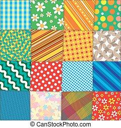 model, vector, kleurrijke, stikken, patchwork.