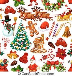 model, vector, seamless, decoraties, kerstmis