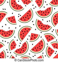 model, vector, watermeloen, seamless