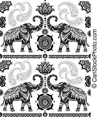 model, verfraaide, seamless, olifanten
