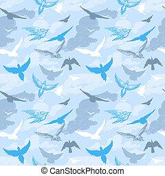 model, vliegen, hemel, seamless, vogels
