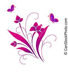 model, vlinder, bloem