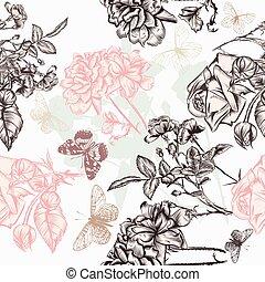 model, vlinder, rozen, gegraveerde, behang, mooi