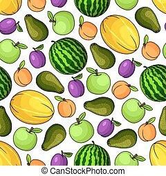 model, vruchten, organisch, seamless, fris