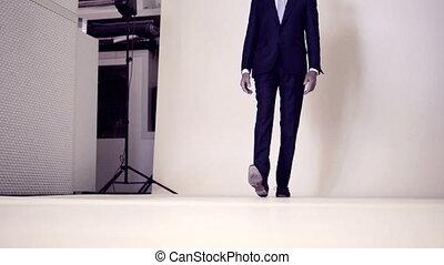 Model walking at fashion shooting