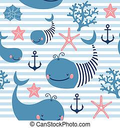 model, whales., seamless, schattig