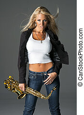 Model With A Saxophone - A blonde model holding a saxophone...