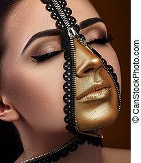 model with art fantasy make up