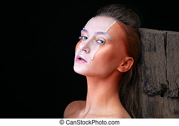 model with artistic make-up