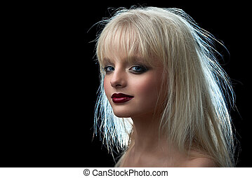 Model with blonde dishevelled hair looking at camera.