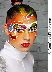 Model with bright creative make up