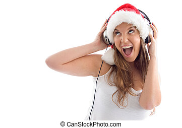 model with christmas hat and headphone