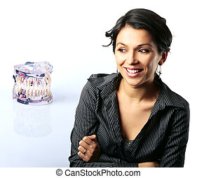 Model with dental problems and Latin woman looking surprised