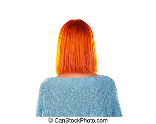 Model with unrecognizable face with red hair. Woman bob haircut styling. Back view.