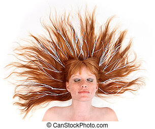 Model With White Twigs in Her Sprawled Out Hair