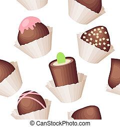 model, witte , seamless, zoetigheden, chocolade