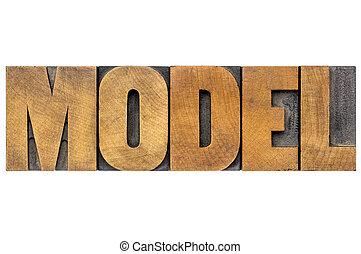 model, woord, typografie