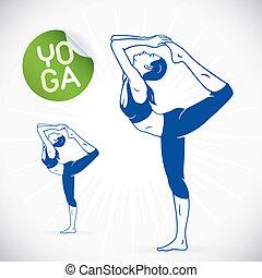model, yoga, illustratie, fitness