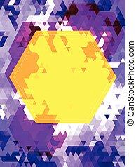 model, zeshoek, driehoek, gele, viooltje