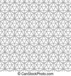 model, zeshoek, geometrisch, black , seamless, lijnen, vector, witte