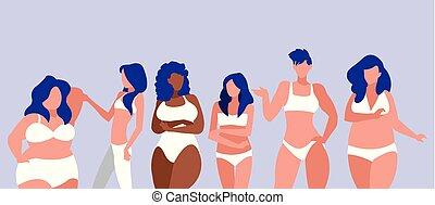 modelado, diferente, mujeres, tamaños, ropa interior,...