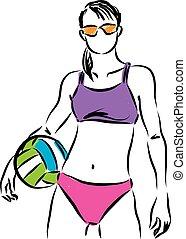 modelado, enfermo, mujer, vóleibol de playa