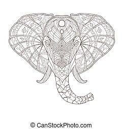 modelado, illustration., indio étnico, tótem, tribal, vector, diseño, zentangle, africano, elephant.