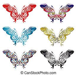 modelado, mariposa, vector