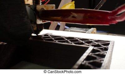 modelage, imprimante, 3d, exécute, plastique, dimensionnel, trois, automatique, laboratoire