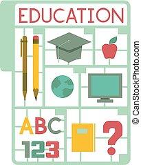 modelar, educação, ilustração, plástico