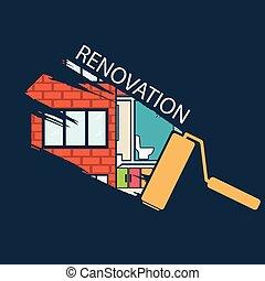 modelar nuevo, .house, renovación, .vector, diseño, plano
