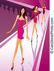 modele, čerstvý, módní přehlídka, šaty