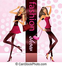 modele, představovat, móda, šaty