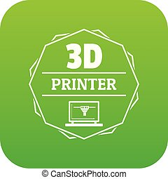 Modeling 3d printing icon green vector