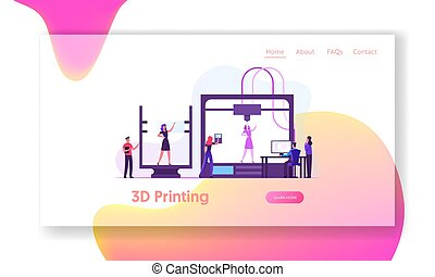 Modeling Printing Progress Innovation Website Landing Page. Developers and Engineers using 3d Printer for Creating Model of Alive Woman in Laboratory Web Page Banner. Cartoon Flat Vector Illustration