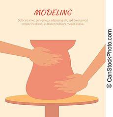 Modeling Process, Pottery Art, Vector Illustration