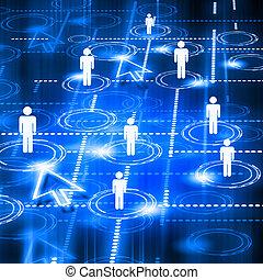 modell, av, social, nätverk