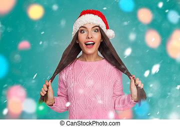 modell, besitz, haar, in, weihnachtshut