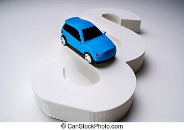 modell, blå, avsnitt, bil, underteckna, vit, bakgrund, över