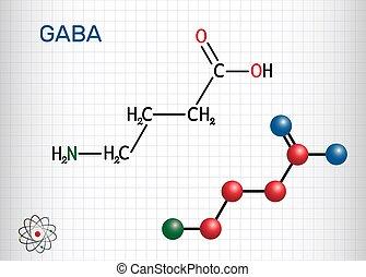 modell, cage., gamma-aminobutyric, inhibitory, molecule., gaba, nervös, strukturell, molekyl, den, system, kemisk, papper, sur, mellerst, ark, formel, activity., naturally, neurotransmitter, ske